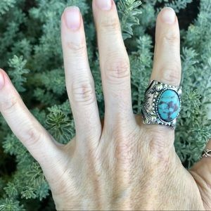 Navajo Indian Turquoise RING silver Wide Stone 9
